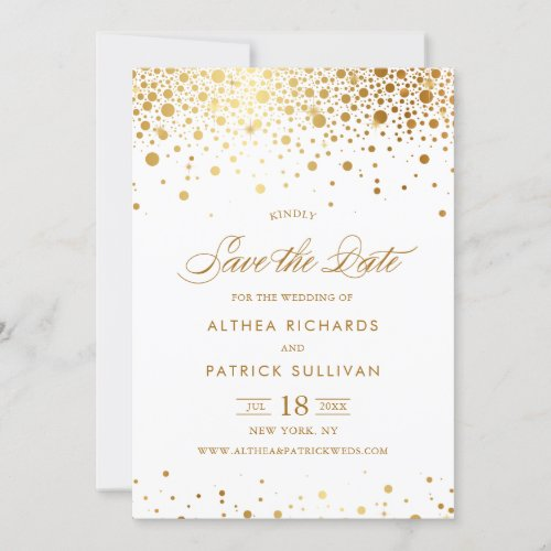 Faux Gold Foil Confetti Dots Save the Date Flat