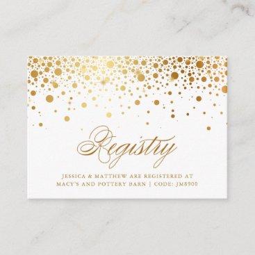 Faux Gold Foil Confetti Dots Wedding Registry Card