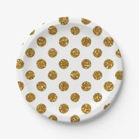 Faux Gold Glitter Polka Dots Pattern on White 7 Inch Paper ...