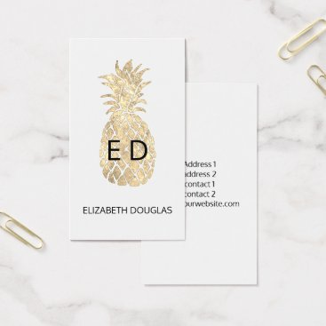 faux gold pineapple monogram business card