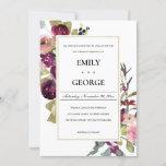 FAUX GOLD PINK BURGUNDY ROSE FLORAL WEDDING INVITE