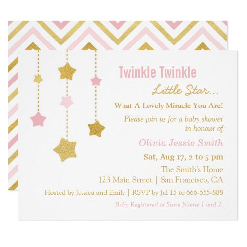 Faux Gold Pink Twinkle Little Star Baby Shower Card