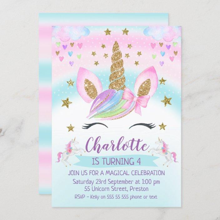 faux gold unicorn rainbow 1st birthday invitation zazzle com