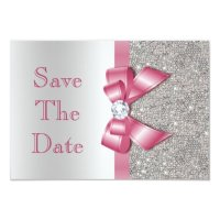 Faux Pink Bow Diamonds Save The Date Baby Shower Card