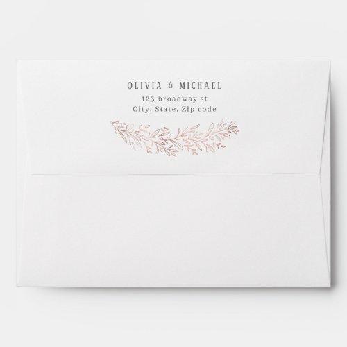 Faux rose gold botanical foliage return address envelope