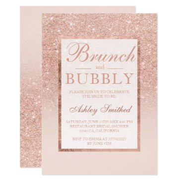 Faux rose gold glitter brunch bubbly bridal shower invitation