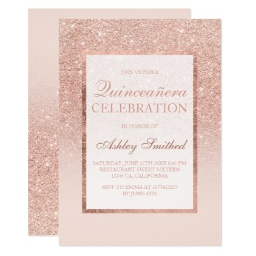 Faux rose gold glitter elegant chic Quinceañera Invitation