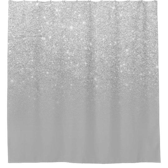 Faux Silver Glitter Ombre Grey Color Block Shower Curtain