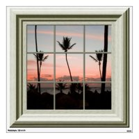 Faux Window View Palm Trees Sunset Beach Room Decal | Zazzle