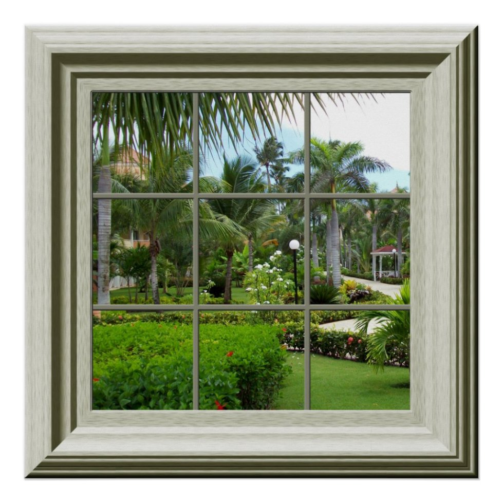 Faux Window Zen Tropical Landscape Relaxing Poster
