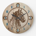 Faux wood horse head ranch western large clock