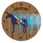 Faux wood horse saddle personalized boys room large clock