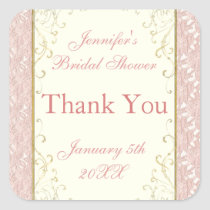 Favor or Invitation Seals Pink Lace, Ivory Bridal