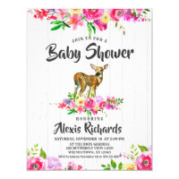 Fawn Deer Watercolor Floral Baby Shower Invitation