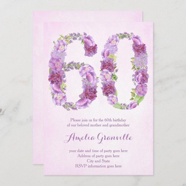 female 60th birthday invitations lavender invites zazzle com