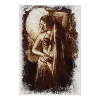 Female Belly Dancer with a Veil print