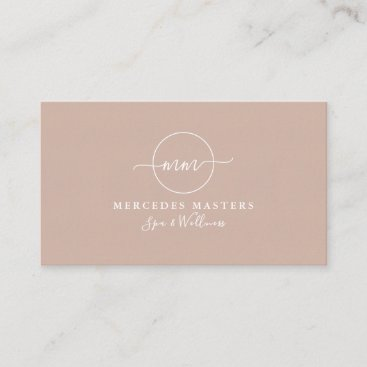 Feminine Monogram Pink Blush Business Card