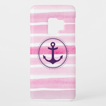 Feminine Pink Watercolor Stripes Nautical Anchor Case-Mate Samsung Galaxy S9 Case