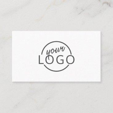 Feminine script custom logo modern white minimal business card