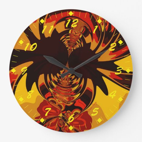 Ferocious – Abstract Amber & Orange Creature Large Clock
