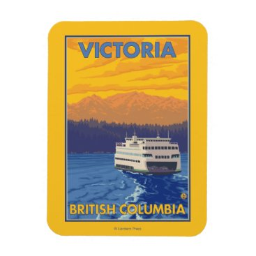 Ferry and Mountains - Victoria, BC Canada Magnet