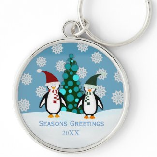 Festive Christmas Penguin Keychain