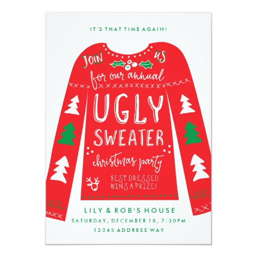 Festive Ugly Sweater Christmas Party Invitations Zazzle