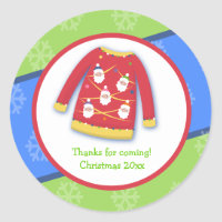 Festive Ugly Sweater Custom Favor Sticker