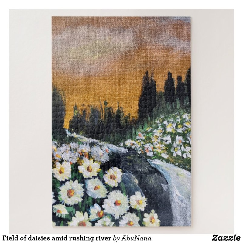 Field of daisies amid rushing river jigsaw puzzle