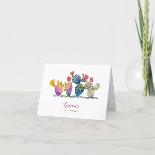 Fiesta Watercolor Cactus Bridal Shower Thank You Card