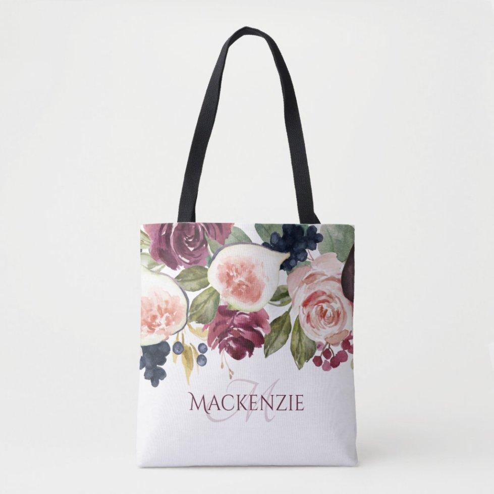 Fig Blossoms   Elegant Floral Bridesmaid Keepsake Tote Bag