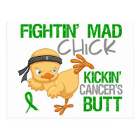 Fightin Chick Kidney Cancer Green Ribbon Postcard