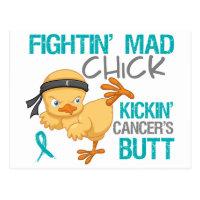 Fightin Chick Peritoneal Cancer Postcard