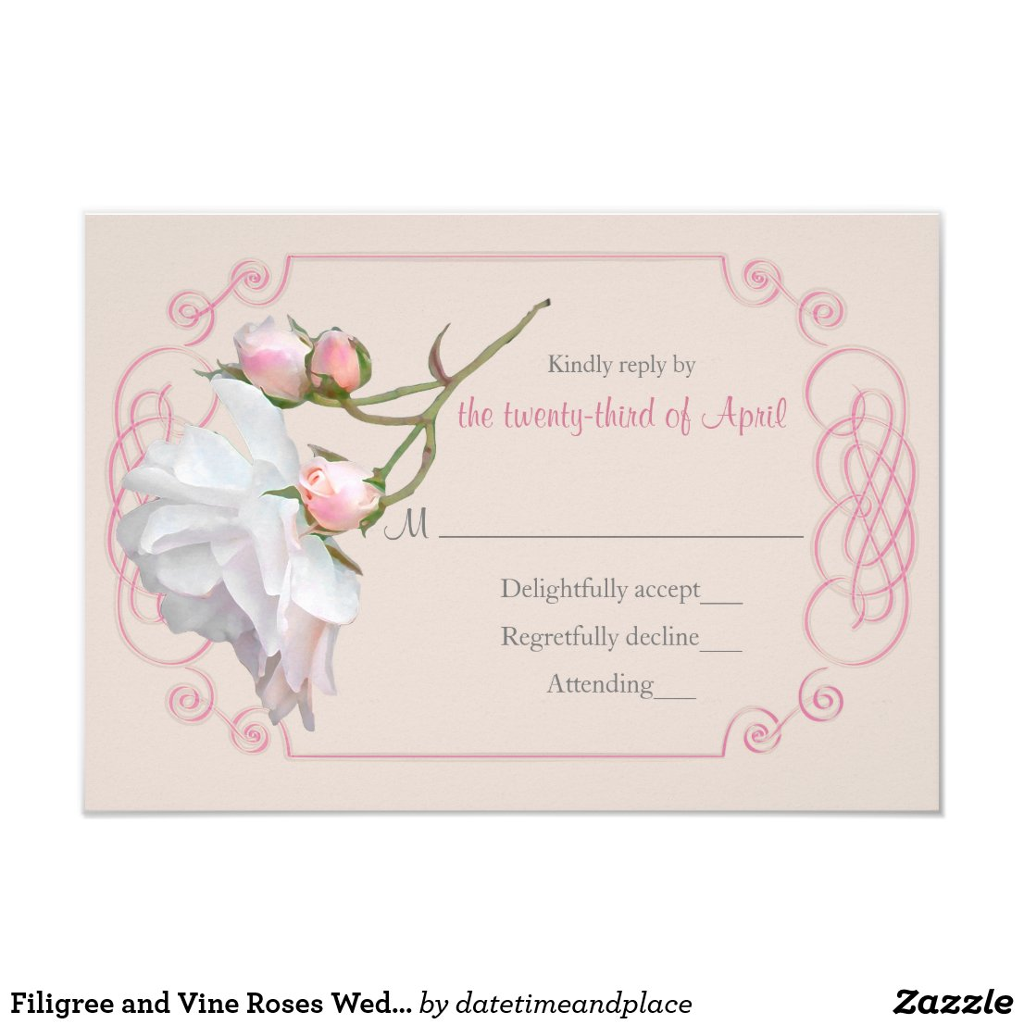 Filigree and Vine Roses Wedding Invitation RSVP