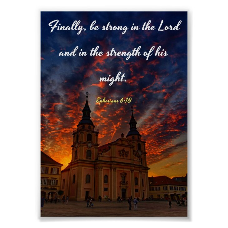 Finally, be strong - Bible Poster