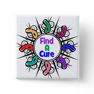 Find A Cure For All Cancers Tribal Ribbons button
