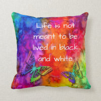 [Fire and Ice] Rainbow Boho Butterfly Tie-Dye Throw Pillow
