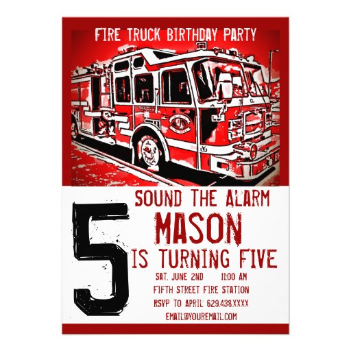 personalized firetruck birthday party invitations custominvitations4u com