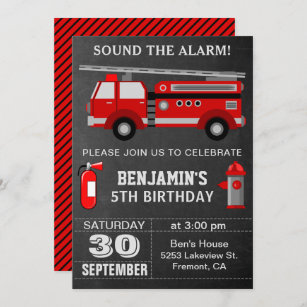 fireman birthday invitations zazzle