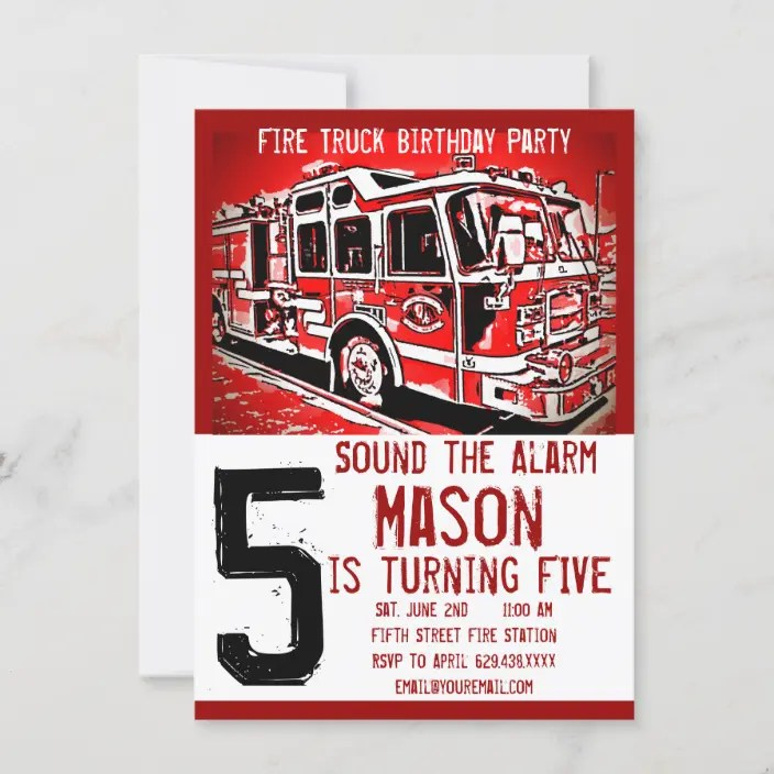 Real life heroes take the form of men and women in uniform. Fire Truck Firefighter Kids Birthday Invitations Zazzle Com