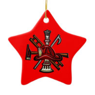 Firefighter Fire and Rescue Department Emblem Christmas Tree Ornaments