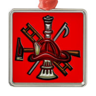 Firefighter Fire and Rescue Department Emblem Christmas Ornaments