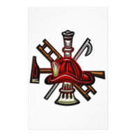 Firefighter Fire and Rescue Department Emblem Stationery