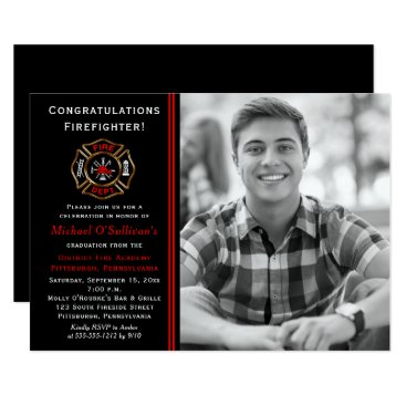 Firefighter Photo Graduation Announcement | Party