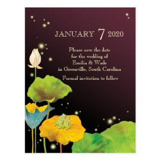 Firefly Night Fall Wedding Save the Date Postcards