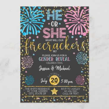 Fireworks Gender Reveal Invitation Twins Multiples