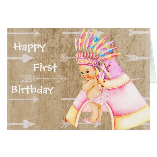 First Birthday Card For Native American Baby Zazzle