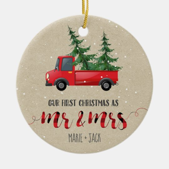 Just Married Christmas Ornament Personalized
