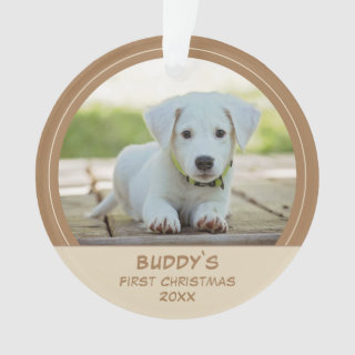 First Puppy Christmas Personalized Pet Photo Ornament