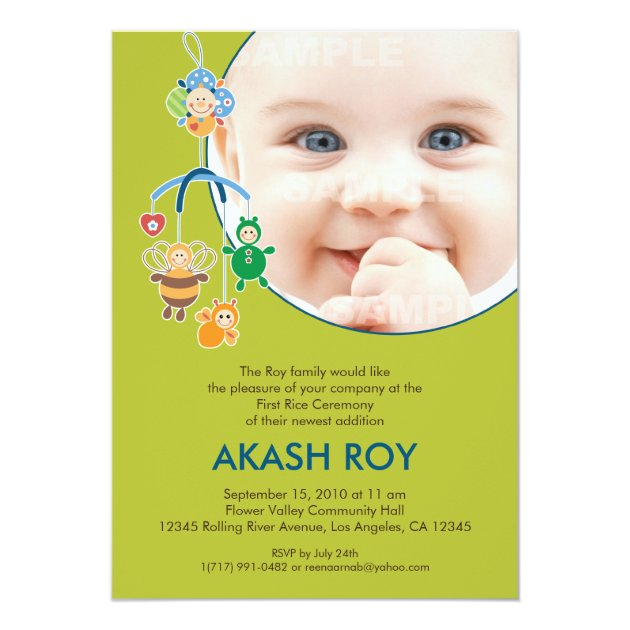 First Rice Ceremony Baby Mobile Invitation Zazzle
